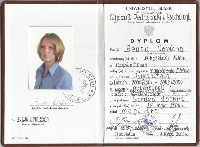 Dyplom Psychologia